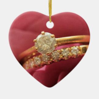 Heiraten Sie mich? Diamantringverzierung Keramik Herz-Ornament