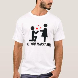 Heiraten Sie mich verbogen Knie-Mann u. Frau T-Shirt