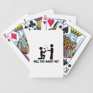 Heiraten Sie mich verbogen Knie-Mann u. Mann Bicycle Spielkarten