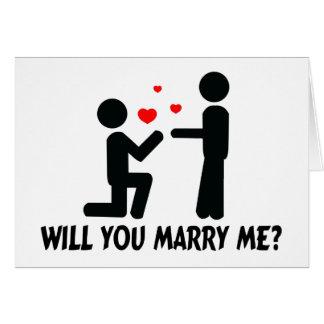 Heiraten Sie mich verbogen Knie-Mann u. Mann Karte