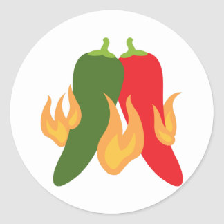 Heiße Chili-Paprikaschoten Runder Aufkleber