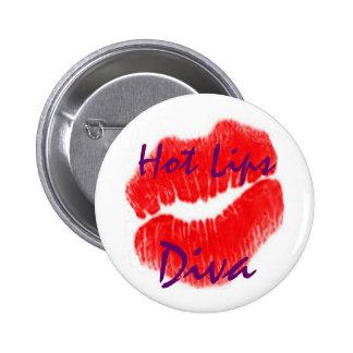 """""""Heiße Lippendiva"""" im weißen Knopf Anstecknadelbutton"""