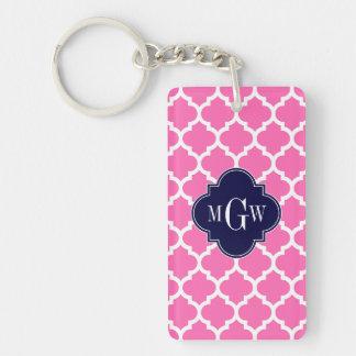 Heiße Pink#2 weiße Anfangsmonogramm des Schlüsselanhänger