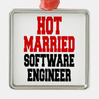 Heiße verheiratete Software Engineer Quadratisches Silberfarbenes Ornament