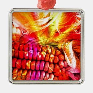 heißer gestreifter Mais Quadratisches Silberfarbenes Ornament