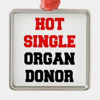 Heißer Single-Organ-Spender Quadratisches Silberfarbenes Ornament