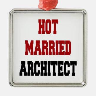 Heißer verheirateter Architekt Quadratisches Silberfarbenes Ornament
