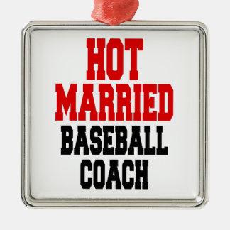 Heißer verheirateter Baseballtrainer Quadratisches Silberfarbenes Ornament