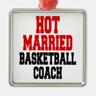 Heißer verheirateter Basketball-Trainer Quadratisches Silberfarbenes Ornament