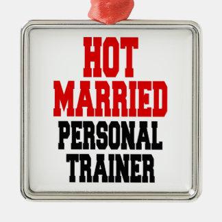 Heißer verheirateter persönlicher Trainer Quadratisches Silberfarbenes Ornament