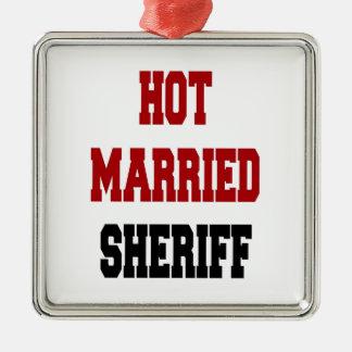 Heißer verheirateter Sheriff Quadratisches Silberfarbenes Ornament