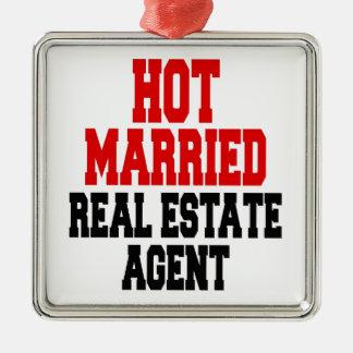 Heißer verheirateter wirklicher Anwesen-Agent Quadratisches Silberfarbenes Ornament