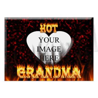 Heißes Großmutterfeuer und rotes Marmorherz Karte