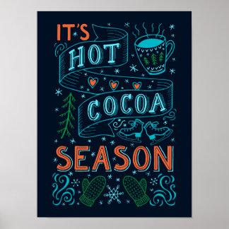 Heißes Kakaojahreszeithandbeschriftungszitat Poster
