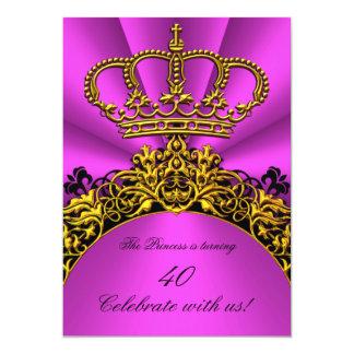 Heißes Rosa-Geburtstags-Party Prinzessin-Queen 12,7 X 17,8 Cm Einladungskarte