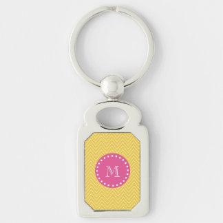 Heißes Rosa, gelbes Zickzack   Ihr Monogramm Schlüsselanhänger