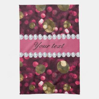 Heißes Rosa-GoldBokeh Imitat-Diamanten Küchentuch