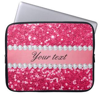 Heißes Rosa-großer Imitat-Glitter mit Diamanten Laptop Sleeve