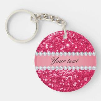 Heißes Rosa-großer Imitat-Glitter mit Diamanten Schlüsselanhänger