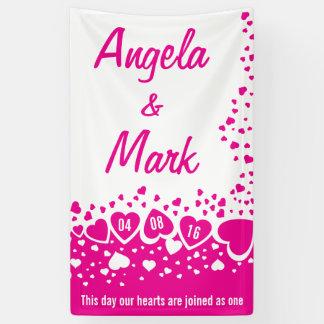 Heißes Rosa-Herz-personalisierte Hochzeit Banner