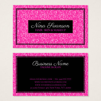 Heißes Rosa-Imitat-Glitzer-Schwarz-Rahmen Visitenkarte