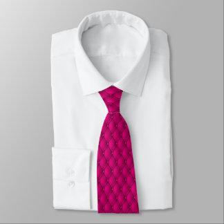 Heißes Rosa-Imitat-Polsterungs-Button-Biesen Bedruckte Krawatte