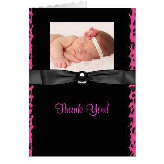 Heißes Rosa-Leopard-Baby-Foto danken Ihnen Karten
