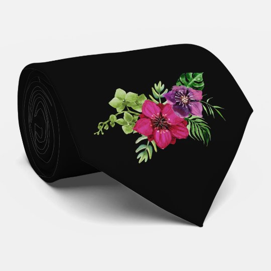 Heißes Rosa-lila grüne Blumenhochzeits-Krawatte Personalisierte Krawatte