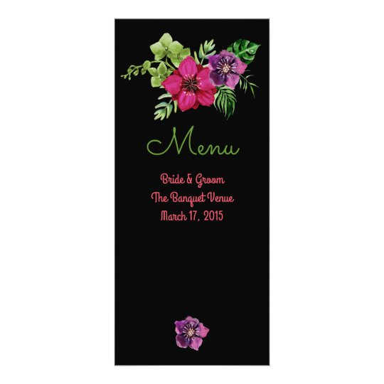 Heißes Rosa-lila grüne Blumenhochzeits-Menü-Karten Werbekarte