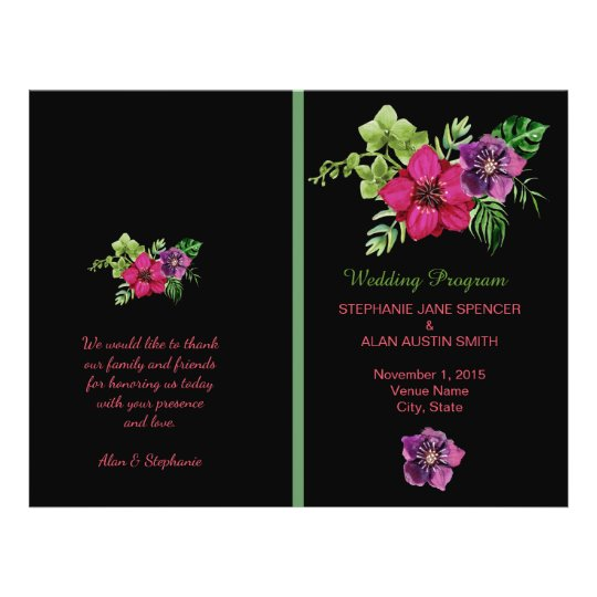 Heißes Rosa-lila grüne Blumenhochzeits-Programme Flyer