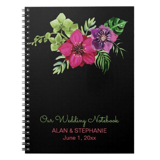 Heißes Rosa-lila grünes Blumenhochzeits-Notizbuch Spiral Notizblock
