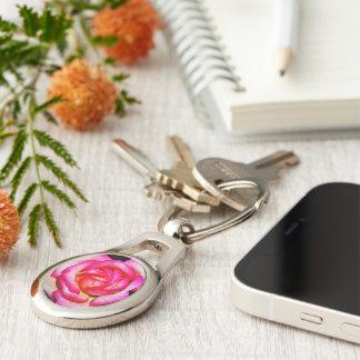 Heißes Rosa-Rosen-Metallschlüsselkette Schlüsselanhänger