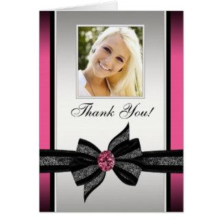 Heißes Rosa-Schwarz-Foto danken Ihnen Karten