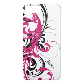 Heißes Rosa-Schwarz-weiße Funky gewellte Rolle mit iPhone 8 Plus/7 Plus Hülle