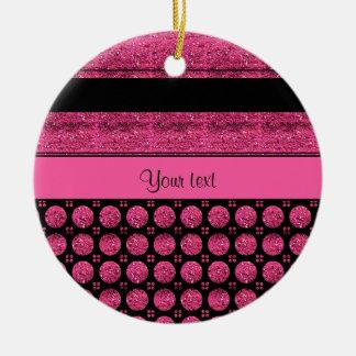 Heißes Rosa-Streifen und Glitter-Stellen Rundes Keramik Ornament