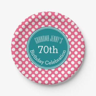 Heißes Rosa und aquamarine Polka-Punkte mit Pappteller 17,8 Cm