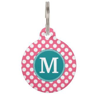 Heißes Rosa und aquamarine Polka-Punkte mit Tiermarke