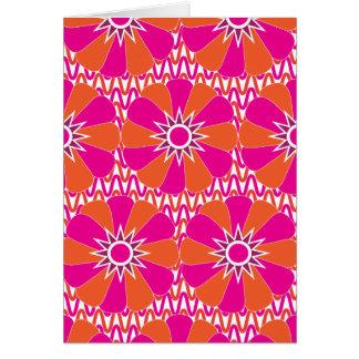 Heißes Rosa und orange helles Blumen-Muster Karte