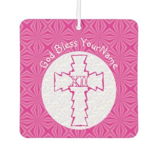 Heißes Rosa-und weißeschristliches Zickzack-Kreuz Autolufterfrischer