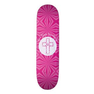 Heißes Rosa-Zickzack-christliches Querweiß Personalisiertes Skateboarddeck