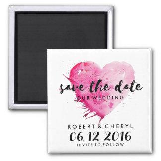 Heißes Rosawatercolor-Herz-Save the Date Magneten Quadratischer Magnet