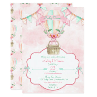 Heißluft-Ballon-Aquarell-Rosa-Minzen-Pfirsich 12,7 X 17,8 Cm Einladungskarte