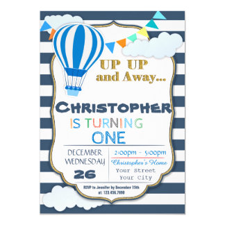 Heißluft-Ballon-Geburtstags-Party Einladung