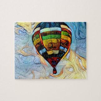 Heißluft-Ballon gemaltes Puzzlespiel
