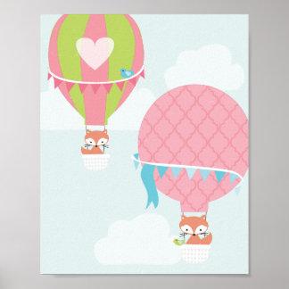Heißluft-Ballon-Mädchen-Kinderzimmer-Kunst Poster