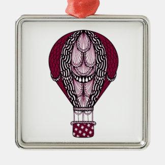 Heißluft-Ballon Quadratisches Silberfarbenes Ornament