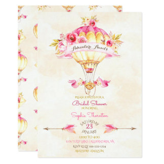 Heißluft-Ballon-Rosa-Goldgelb-Pfeil-Rosen 12,7 X 17,8 Cm Einladungskarte