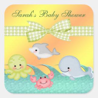 Heitre Baby-Seegeschöpf-Babyparty Quadratischer Aufkleber