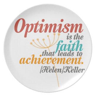 Helen Keller-Optimismus-Zitat Melaminteller