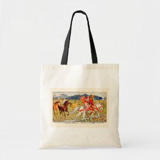 Helga choisit son cheval sac en toile budget